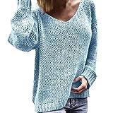 KaloryWee Heißer Damen Pullover Herbst Winter Casual V-Ausschnitt Loose Langarm Warm Elegant Langarmshirt Strick Sweater Tops Strickpullover S-3XL