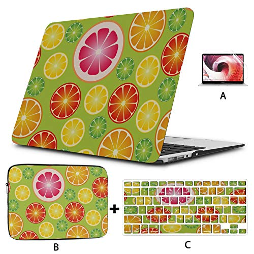 A1706 MacBook Pro Case Seamless Wallpaper Citrus Fruits Vector Illustration 13 Inch MacBook Case Hard Shell Mac Air 11'/13' Pro 13'/15'/16' with Notebook Sleeve Bag for MacBook 2008-2020 Version