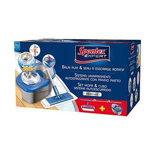 Spontex expert - 19110180 - Set balai plat + seau à essorage rotatif