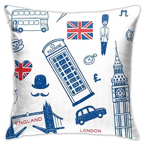 Traveler Shop Símbolos y monumentos de Inglaterra Funda de Almohada con diseño de Londres Funda de cojín Cuadrada Sofá Decorativo para el hogar 18 x 18 Pulgadas