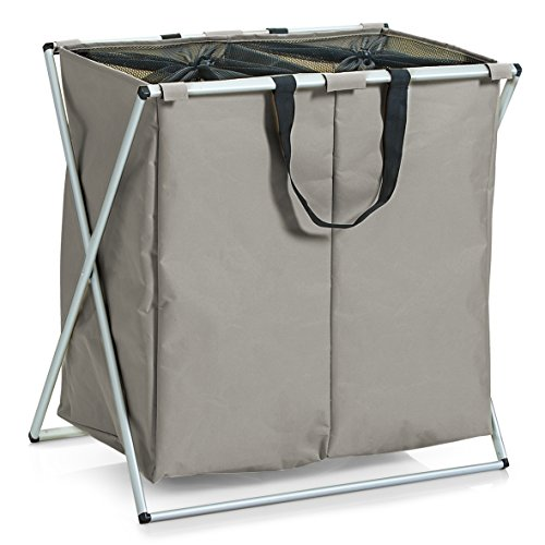 Zeller, 13225, wasmand, 2-voudig, polyester/aluminium, 59 x 38 x 57 cm taupe