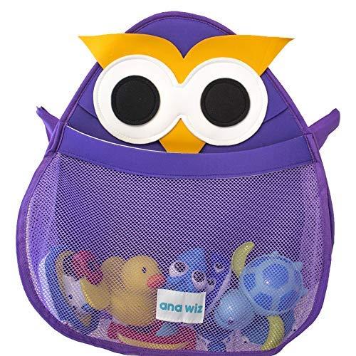 Ana Wiz - Organizer per il bagno, per giocattoli, vari disegni, motivo gufo, 150 g, colore: Viola