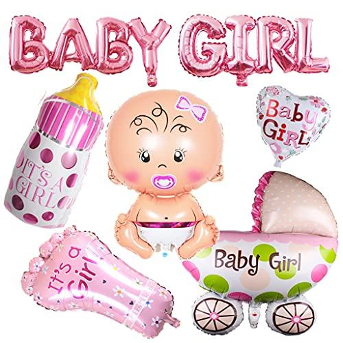 Decoración para baby shower, para niñas, globo para baby shower, fiesta de color rosa, género, decoración para baby shower, para niña, biberón, cochecito de bebé, globo de helio con forma de pie