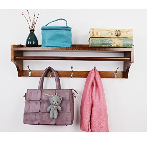 Perchero de pared ,Pared Perchero,Percha de madera maciza ,moderna multifuncional 5 ganchos estante de pared soporte de exhibición perchas Dormitorio & el Baño & la Decoración del Hogar (65.5CM)