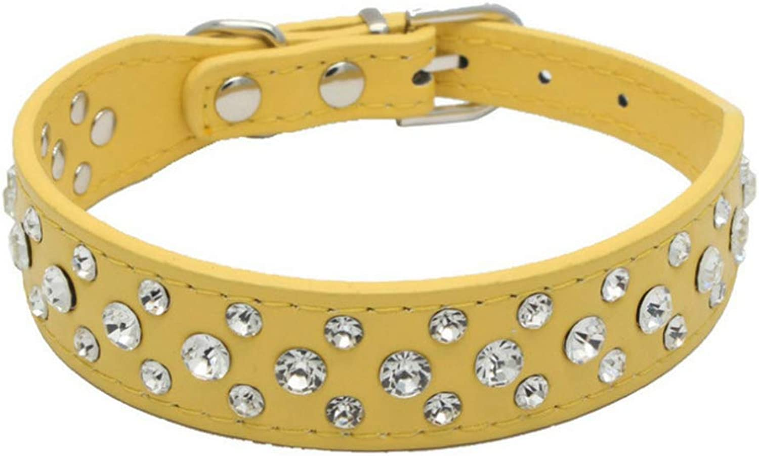 Rhinestones Dog Collars Crystal Diamonds Studded PU Leather Sparkly Crystal Studded Collar for Small & Medium Dog Pet Products,Yellow,L