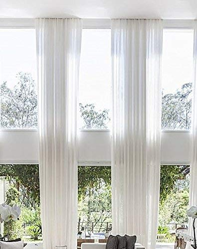Extra Long Sheer Voile Curtain Panel Custom Made Length for high Ceiling 2 Story. (20 ft, White Off)