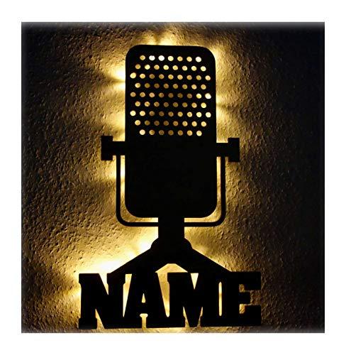 Sänger Musiker Mikrofon Nachtlicht Lampe Geschenke mit Namen personalisiert I Optional mit Farbe