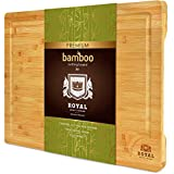 XXL Bamboo Cutting Board for Kitchen with Juice Groove - Wooden Chopping Board for Meat, Vegetables,...