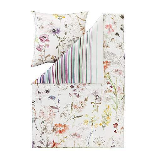 ESTELLA Bettwäsche Floral | Multicolor | 135x200 + 80x80 cm | Mako-Satin mit seidigem Glanz | trocknerfest und atmungsaktiv und anschmiegsam | 100% Baumwolle