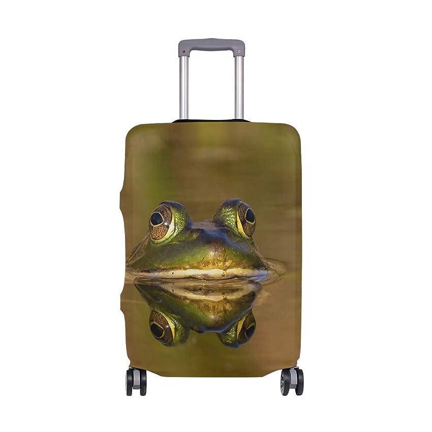 活発恥ずかしい逆にスーツケースカバー 伸縮弾性素材 洗える おしゃれ 旅行 海外 カエル 水 夏 パターン トラベルダストカバー 通気性 傷防止 防塵カバー