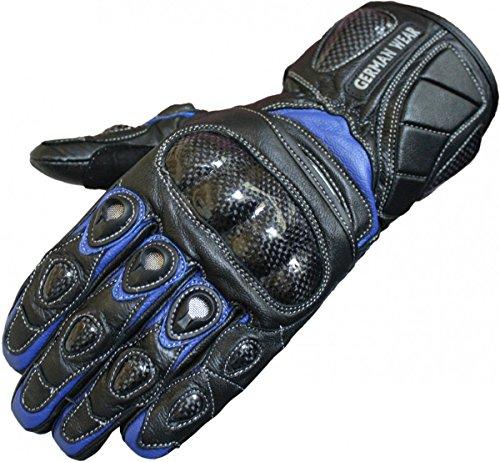 German Wear Motorradhandschuhe Motorrad Biker Handschuhe Lederhandschuhe, Größe:8=M, Farbe:Blau