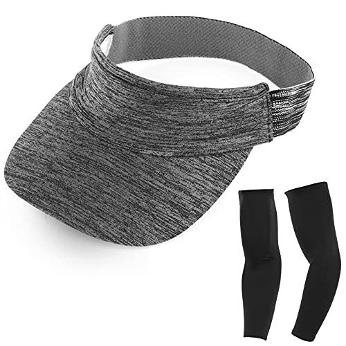 Kapsuen Visor Caps Sun Hat for Women and Men - Sun Visor for Sports and Running - Summer UV Sun Visors with Elastic Headband (Grey)