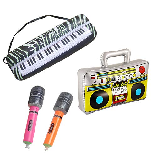 SBYURE 16 inch Party Inflatable Boom Box + 2 Microphones Inflatable Props + 23.6 inch Inflatable Keyboard Piano for 80s Party Decorations Inflatable Props