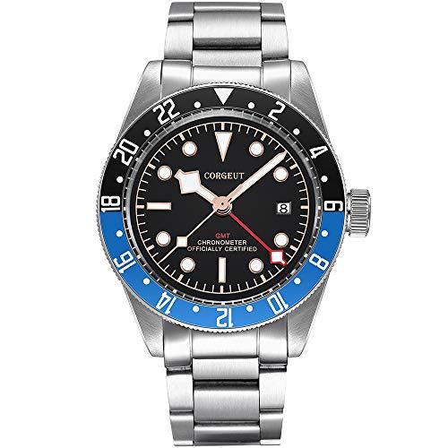 GMT - Reloj automático para hombre, de acero inoxidable, analógico, con fecha, cristal de zafiro, luminoso, color negro y azul
