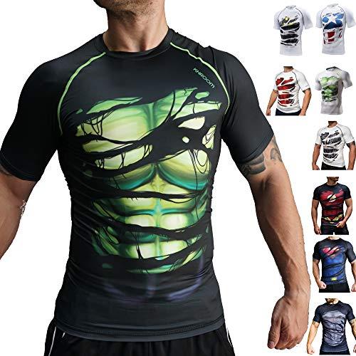Khroom® Camiseta de compresión para hombre, de manga corta