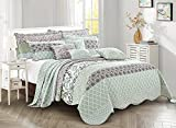 """Home Soft Things Royal Scroll Bedspread 122"""" x 106"""" Teal"""
