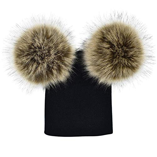 HaiQianXin Gorro de Invierno para niños pequeños recién Nacidos para niños, niñas, Unisex, de Punto, Gorro de Invierno con Pelotas difusas (Color : Black+Self-Colored Fuzzy Ball)