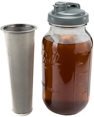 Cold Brew Coffee Maker with Flip Cap Lid | 2 Quart Glass Ball Mason Jar, reCAP Pour Spout, and Stainless Steel Filter. Perfect for Coffee, Tea, and Water Infusions