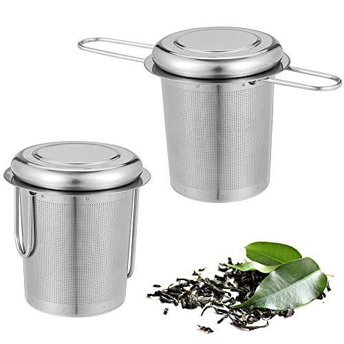 Metagio - Juego de 2 coladores de té con tapa, bandeja de goteo, de acero inoxidable 304, para té suelto, mango plegable, apto para la mayoría de tazas de té y cuencos de té