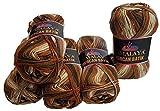 mercan batik 5 x 100 Gramm Wolle braun beige Creme mit Farbverlauf, Nr. 59511, 500 Gramm Strickwolle