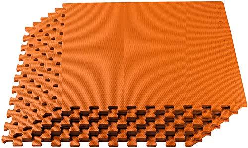 Lee My Sportmatte Steckmatte Mit Bodenschutzmatte Schutzmatten Zwischenschicht Judo Karate Yoga Kampfsport Rot-Blau 0.6Mx0.6Mx0,02M,Orange,6 Tiles