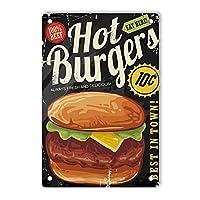 RCY-T Retro Hot Burgers サイン, 軽量アルミ壁の装飾ヴィンテージサイン for Men Cave Coffee Bar Home Garage Movie 20x30cm