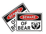 2-Pack Beware of Bear Warning Signs 10'x7' Metal Rust-Free Aluminum UV Printed, Weatherproof and Easy to Mount Outdoor Use