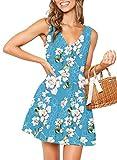MITILLY Vestido corto de verano sin mangas con cuello en V y botones para mujer - azul - X-Large