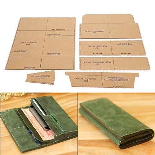 Plantilla de acrílico para billetera, plantilla de plantilla de patrón de billetera de acrílico transparente, herramienta de artesanía de cuero para hacer billetera