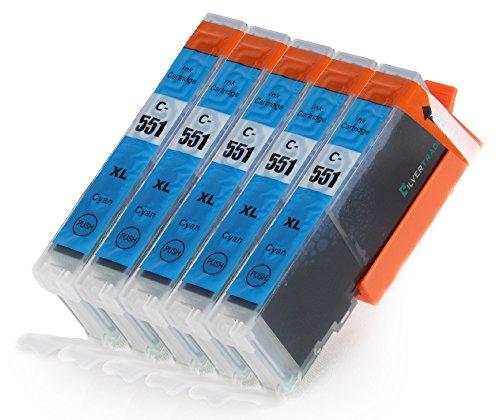 5 Multipack komp. XL Druckerpatronen für Canon Pixma MG7550 MG7150 MG6650 MG6450 MG6350 MG5655 MG5650 MG5550 MG5450s MG5400 MG5450 IP7250 IP8750 IX6850 MX725 MX925 kompatibel 5 x 551C XL blau mit Chip