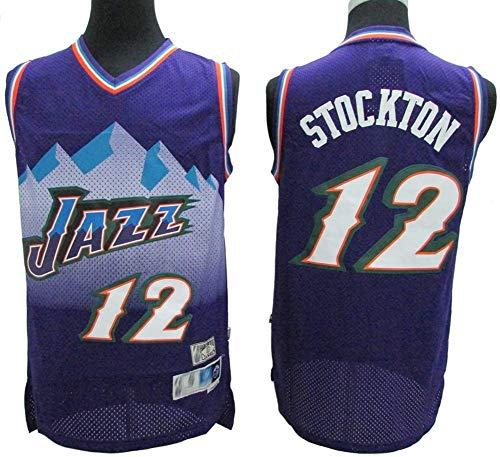 BXWA-Sports Camiseta de Baloncesto NBA # 12 John Stockton Utah Jazz Camiseta de Deporte Transpirable Resistente Al Ventilador Edición de Baloncesto Uniforme Fitness Sport,M(175cm/65~75kg)