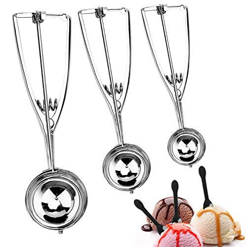 LaTim#039s Ice Cream Scoop Set of 6 Premium Stainless Steel Cookie Scooper with Trigger Include Small Medium and Large Cookie Scoops for Baking Ergonomic Handle Scoop for Melon Cupcake Meatbal
