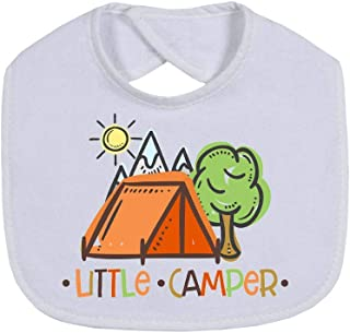 Cloth Baby Bibs | Little Camper Child Outdoors Tent Mountains | Cute Gift New Parents Presents | Cloth Machine Washable | Infant Shower Gifts For Boy Girl Nature Lover Family Camping