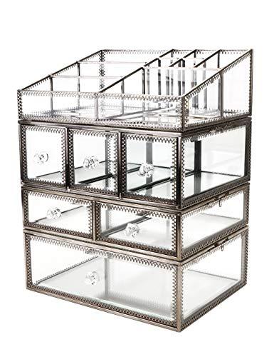 Yxsd Verre transparent et bijoux de BrassMetal cosmétique de stockage de maquillage de l'organisateur Top Dresser Grand écran (2 tiroirs) Set