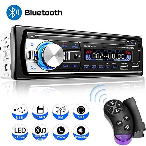 Wysgvazgv Autoradio mit Bluetooth Freisprecheinrichtung und Lenkrad-Fernbedienung BT AUX TF WMA FM Radio MP3 Media Player 1 DIN Anschluss 65W x 4 Autoradio 2 USB Anschlüsse für Musikspielen Aufladen