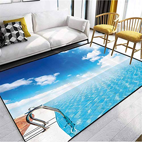 Summer Polyester Anti Fatigue Rug Cozy Color Contemporary Soft Rug Swimming Pool in Crystal Color Water Cloudy Sky Relaxing Holiday Image Blue White Turquoise 7 x 5 ft