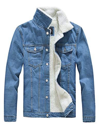 Omoone Men's Long Sleeves Lapel Sherpa Fleece Lined Black Jean Denim Jacket Coat(0047-Light Blue-M)