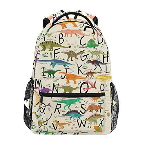 ABC Dinosaurs Backpacks Travel Laptop Daypack School Bags for Teens Men Women
