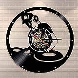 Tbqevc Mesa de Mezclas Reloj de Disco de Vinilo Vintage, música...