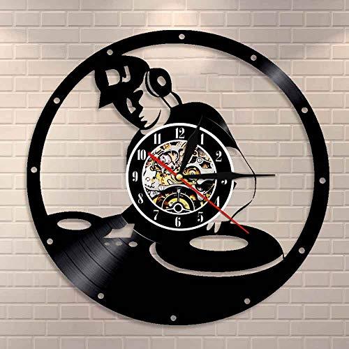 wtnhz LED Colorful vinyl wall clock Mixer vintage vinyl record clock electronic music room decoration music disc jockey mixing turntable vinyl record wall clock