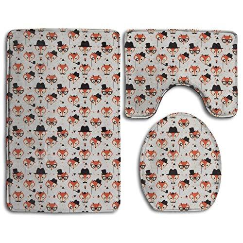 N/Een Leuke Vos Bril Hoed Patroon 3 Pack Badmat Set Antislip Flanel voor Mannen en Vrouwen Antibacteriële Toilet Stoelen, Badkamer Tapijten, Badkamer Accessoires