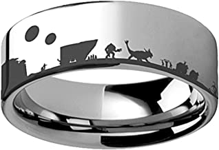 Thorsten Star Wars New Hope Jawas Jabba Palace R2D2 CP3O Ring Flat Polished Tungsten Ring 10mm Wide Wedding Band from Roy Rose Jewelry