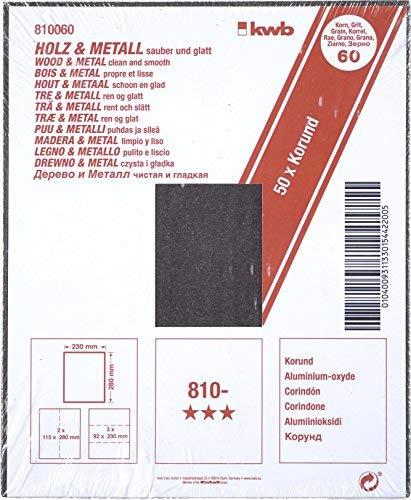 kwb 50 x Schleifpapier K 60 Korund Holz und Metall 810060 (Aluminiumoxyd, Bogen 230 x 280 mm)
