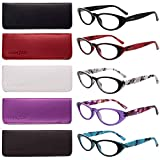 LianSan 5 Pairs Ladies' Vintage Cat Eye Readers Quality Reading Glasses for Women L3720(+2.00)