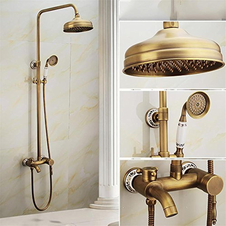Liu Regen-Dusche mit Handbrause und Verstellschlitten Bar Brushed Nickel Finish New Messing Keramik Telefon Handbrause mit Schlauch Retro Style, C