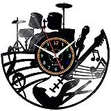 EVEVO Guitarra de Percusión Reloj De Pared Vintag Diseño Moderno Reloj De Vinilo Colgante Reloj De Pared Reloj Único 12' Idea de Regalo Creativo Vinilo Pared Reloj Guitarra de Percusión
