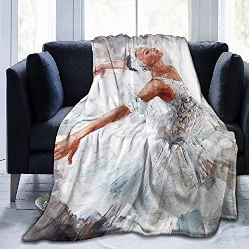 Manta Ultra Suave del Tiro del paño Grueso y Suave Micro, Pintura al óleo del Baile de la Bailarina de la Muchacha Linda