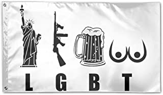 VR4U Liberty Gun Beer Funny America LGBT Garden Flag&Decorative Flag For Wedding Home Outdoor Garden&Anniversary Home Outdoor Garden Decor 3' X 5'