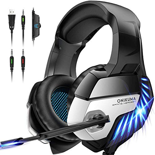 ONIKUMA K5 PRO Auriculares Gaming para PS4, Cascos Gaming con micrófono ,Auriculares Gaming con LED luz para Xbox One /PC /Laptop