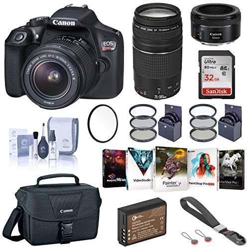 Buy Cheap Canon EOS Rebel T6 DSLR Camera with 18-55mm, 75-300mm and 50mm Lens Complete Bundle with B...